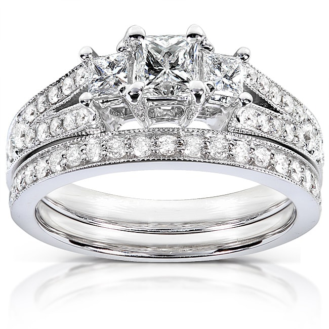 Eziba Collection 14k Gold 1ct TDW Princess-cut Diamond Bridal Set at Sears.com