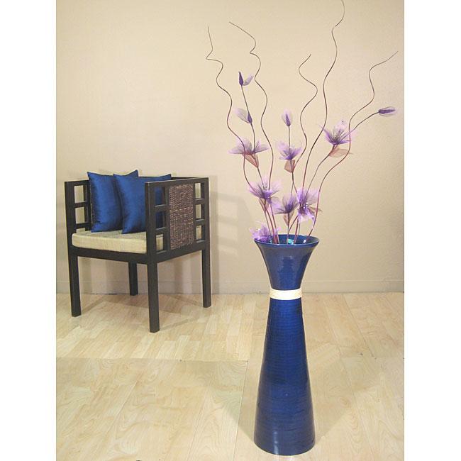Cobalt Blue Floor Vase with Violet Liles