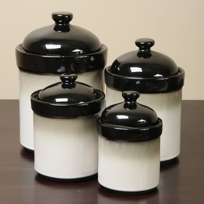 sango nova black 4 piece kitchen canister set 11602843 gift amp home today storage canisters for the kitchen