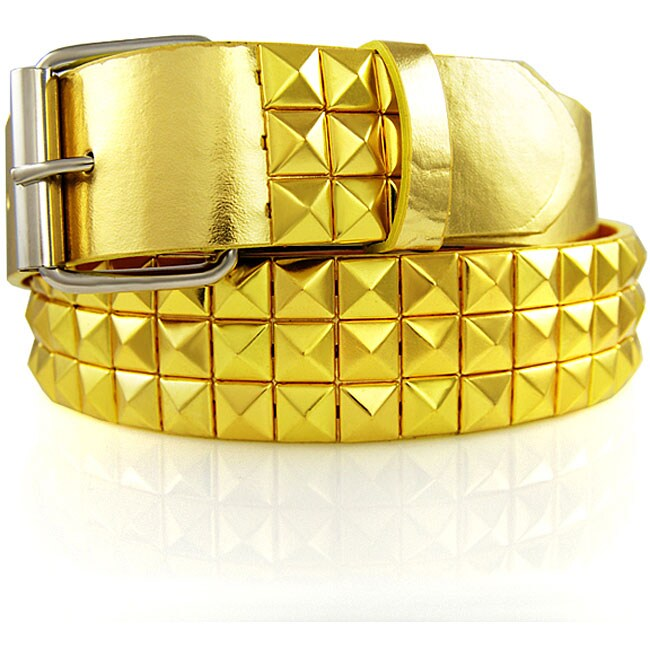 JK Belts Unisex 3-row Gold Studded Gold Belt