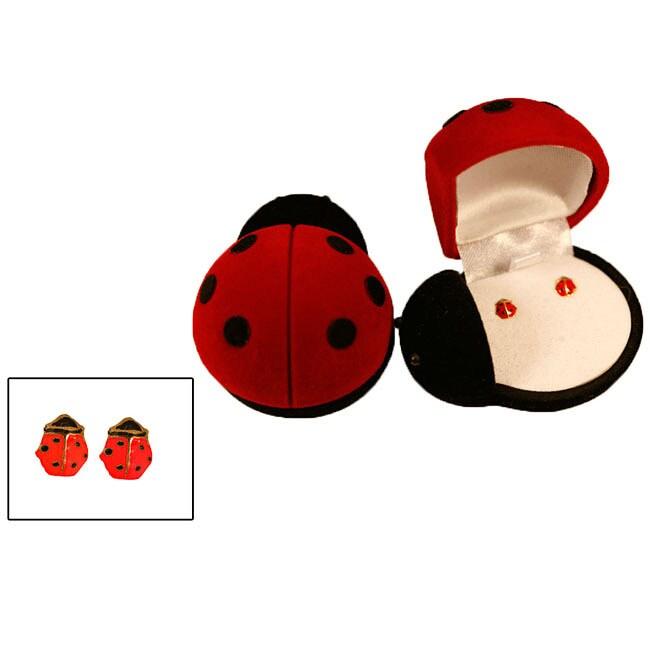 Gioelli 14k Gold and Enamel Ladybug Earrings