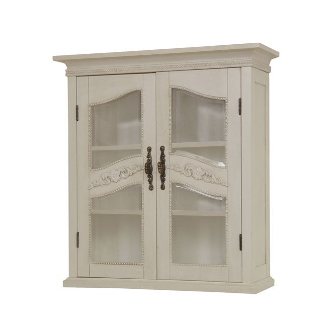 Cambridge antique ivory wall cabinet 11608142 shopping great deals on - Antique bathroom wall cabinets ...