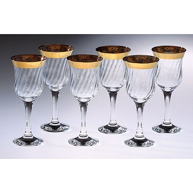 Italian Wine Glasses with 14k Gold Trim (Set of 6)