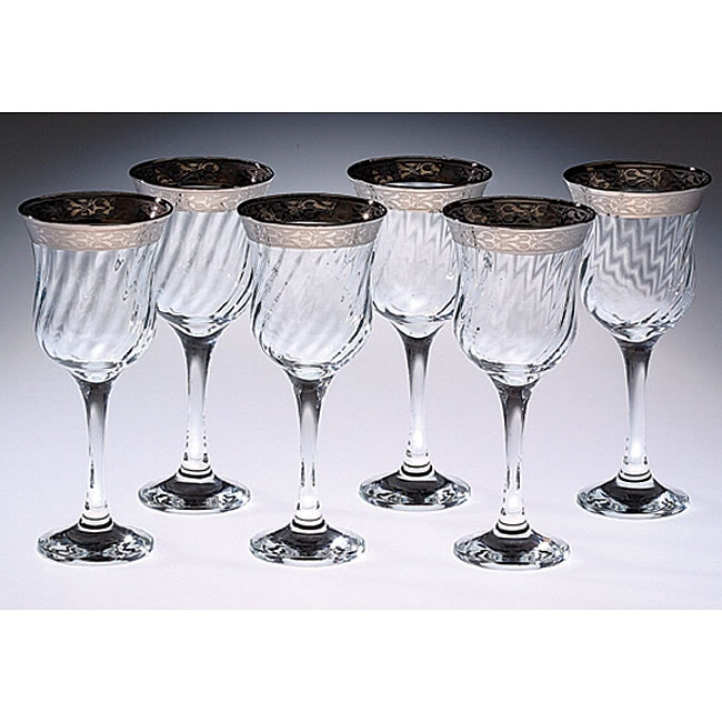 Italian Water Glasses with Silver Trim (Set of 6)