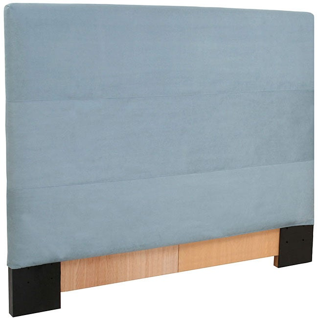 King Light Blue Microsuede Slipcovered Headboard