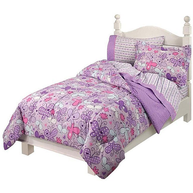 'Butterfly Flourish' Twin-size Bed in a Bag with Sheet Set ...