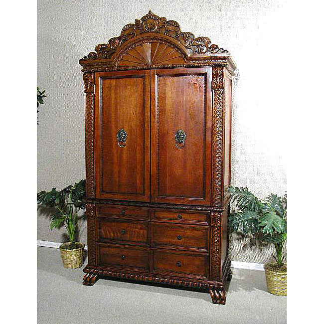 Wardrobe Bedroom Armoire Cherry Finish