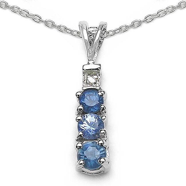 Malaika Sterling Silver Blue Sapphire/ Diamond Accent Necklace