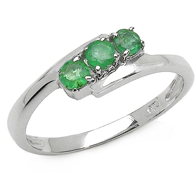 Malaika Sterling Silver Genuine Emerald 3-stone Ring