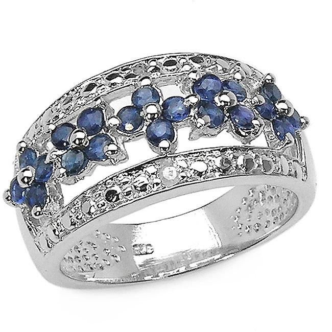 Malaika Sterling Silver Blue Sapphire Diamond Ring
