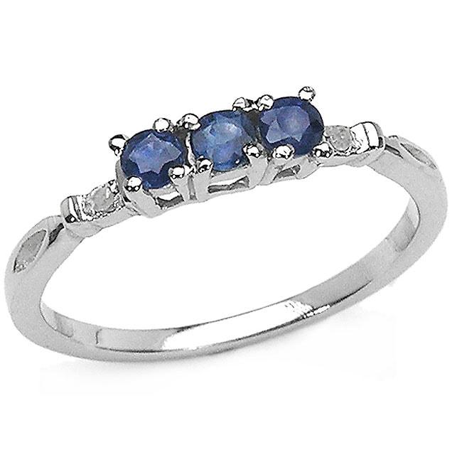 Malaika Silver Genuine Blue Sapphire and Diamond Ring (Size 7)