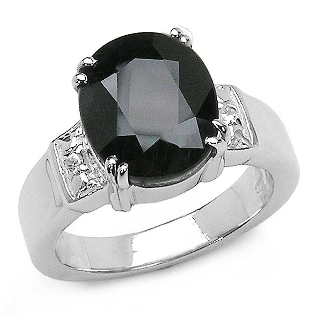 Malaika Sterling Silver Midnight Blue Sapphire and White Topaz Ring