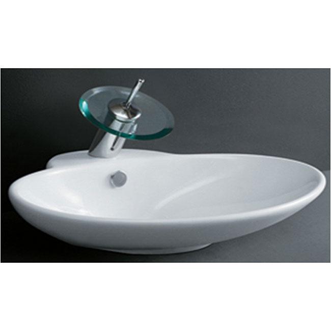 Small Oval Vessel Sink : Porcelain Oval White Bathroom Vessel Sink - 11714207 - Overstock.com ...