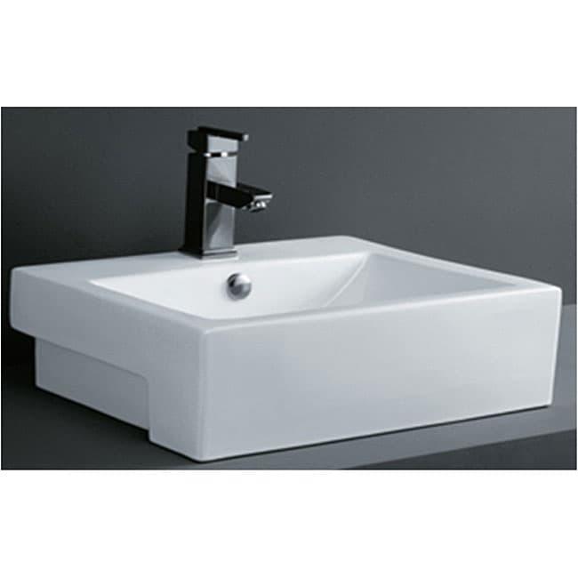 Porcelain Rectangular Bathroom Vessel Sink