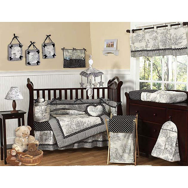 Black And White French Toile Polka Dot Baby Crib Bedding