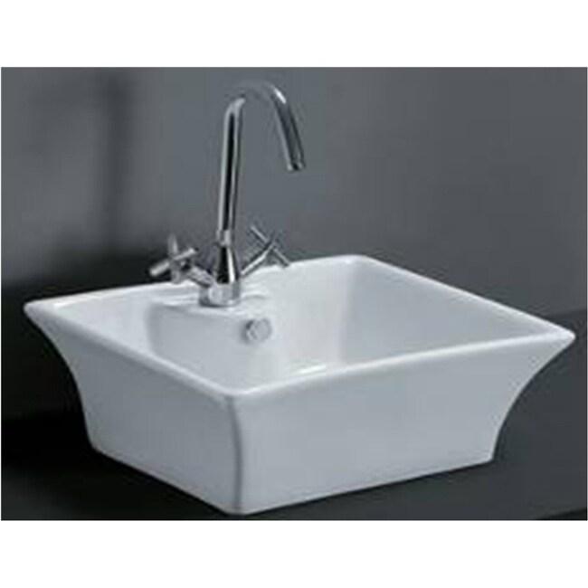 Rectangular Porcelain Bathroom Vessel Sink