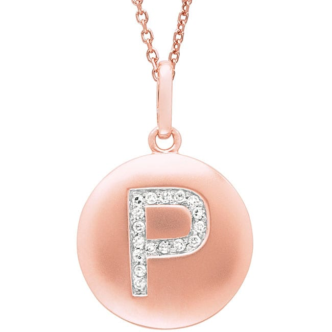 14k Rose Gold Diamond Initial P Disc Pendant