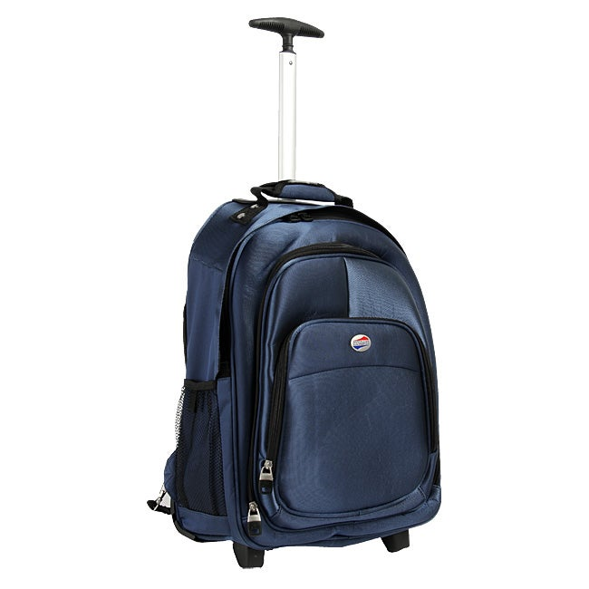 American Tourister Steel Blue Rolling Backpack