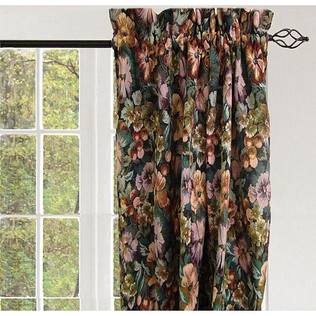 Jewel Botanical Rod Pocket 84-inch Curtain Panel Pair