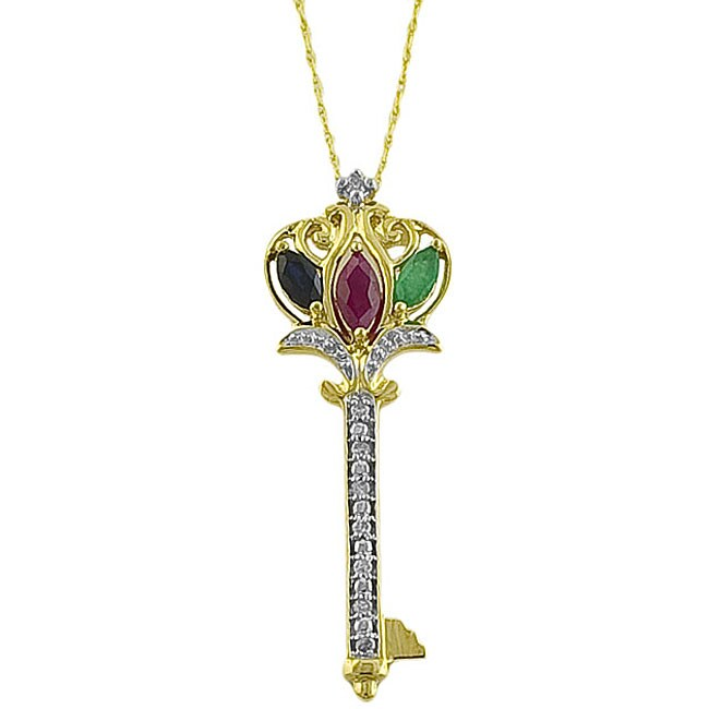 10k Gold Gemstone and Diamond Key Necklace