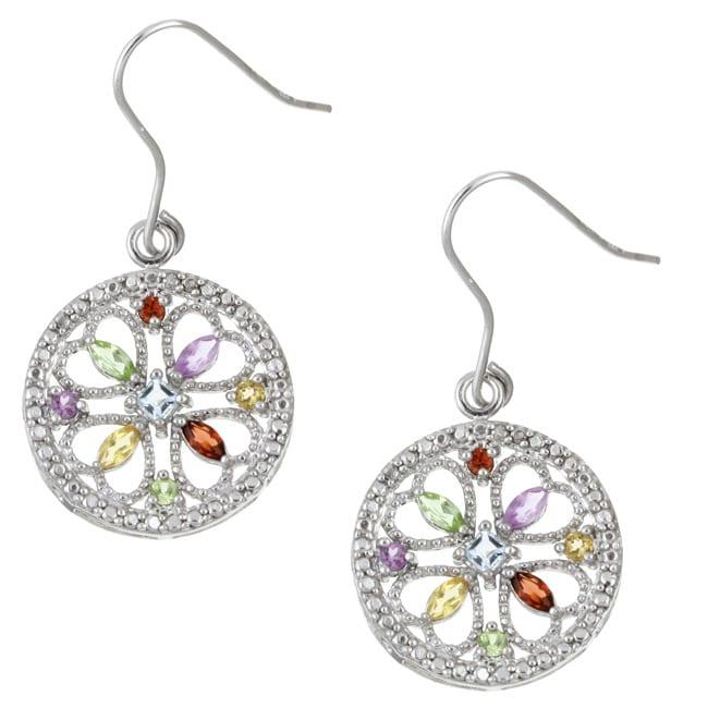 Glitzy Rocks Sterling Silver Multi Gemstone Medallion Earrings