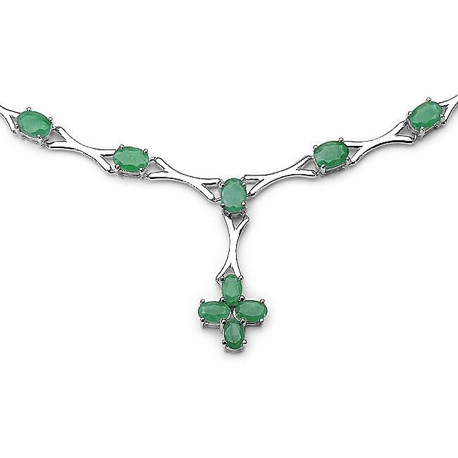 Malaika Sterling Silver Genuine Emerald Necklace