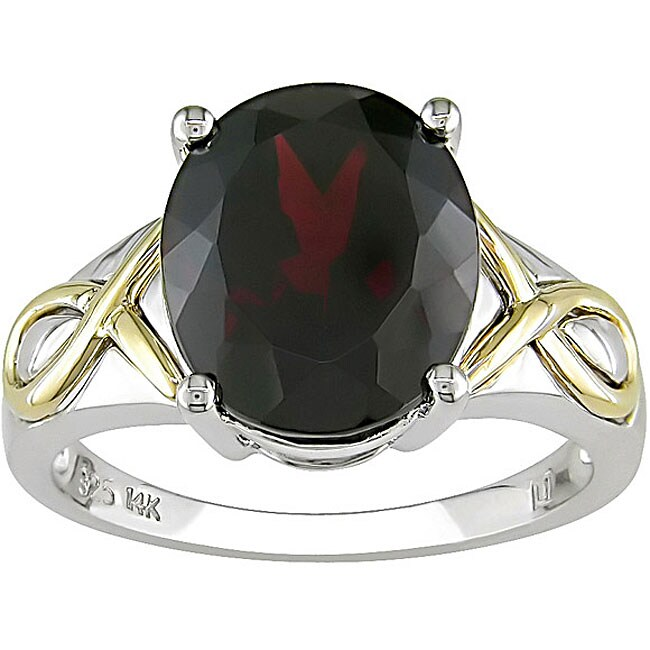 Sterling Silver and 14k Gold Garnet Ring