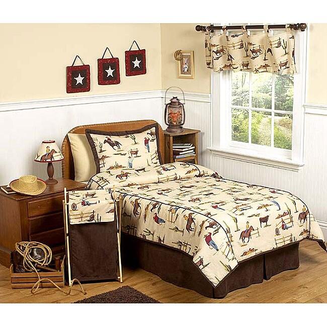 Wild west cowboy 4 piece twin size bedding set 11744648 for Wild bedding