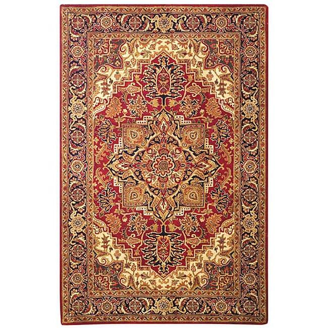 Safavieh Handmade Classic Heriz Red/ Navy Wool Rug (6' x 9')