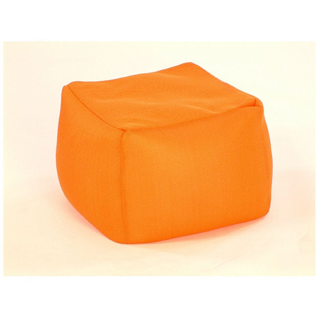 orange mesh cube bean bag ottoman 11748421 overstock. Black Bedroom Furniture Sets. Home Design Ideas