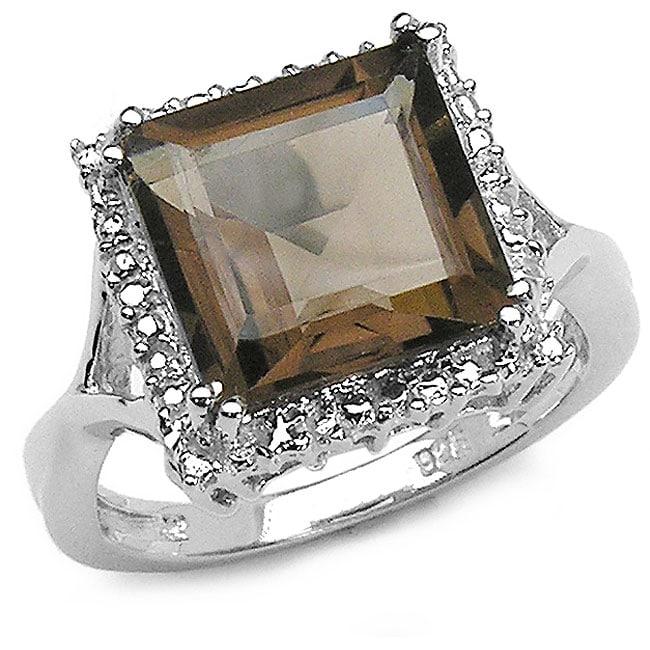 Malaika Sterling Silver Genuine Smokey Quartz Ring