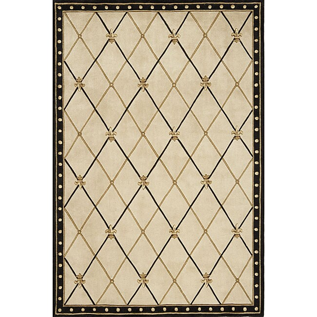 Hand-tufted Black Wool Rug (5' x 7'6)