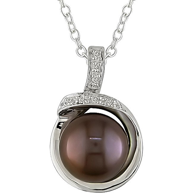 Miadora Sterling Silver Brown FW Pearl and Diamond Necklace (9-10 mm)