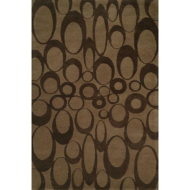 Hand-tufted Brown Wool Rug (9' x 12')