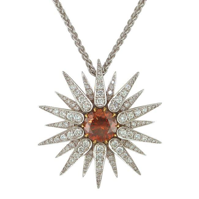18k Gold 13 1/10ct TDW Certified Clarity Enhanced Diamond Sun Necklace (G, VS2/SI1)
