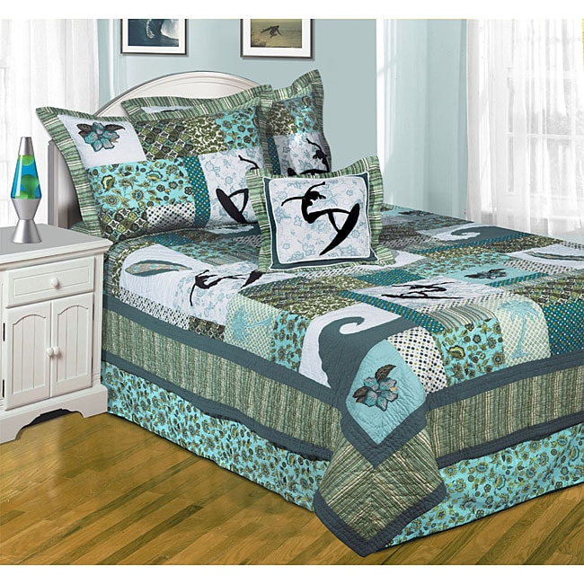 High Tide Cotton Twin Patchwork 5-piece Quilt Set and Pillow