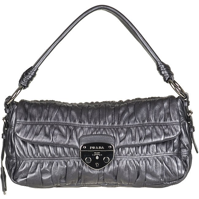 Prada Nappa Gaufre Grey Shoulder Bag - 11776109 - Overstock.com ...