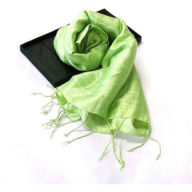 Hand-dyed Woven Lime Green Thai Silk Scarf