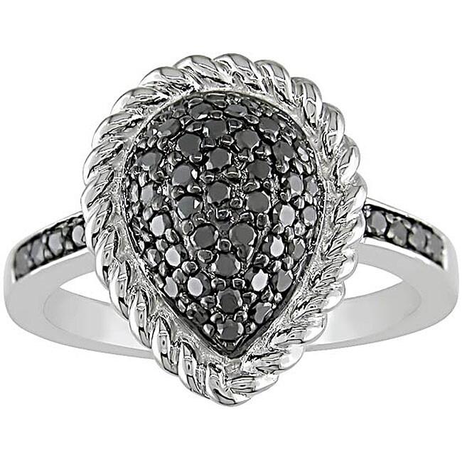 Miadora Sterling Silver 1/2ct TDW Black Diamond Ring