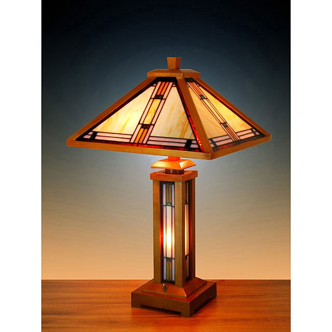 Tiffany Style Stained Glass Mission Table Lamp With Base