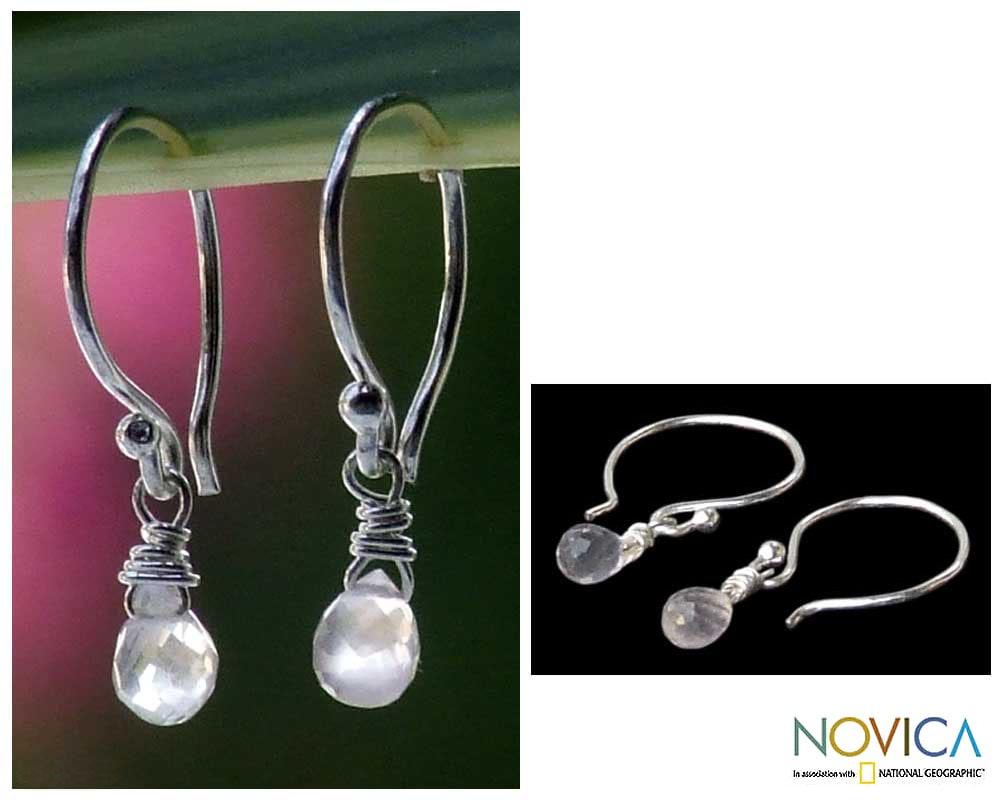Rose Quartz 'Dewdrops' Earrings (Thailand)
