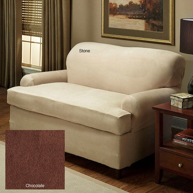Stretch Microfiber Suede 2 Piece T Cushion Sofa Slipcover 11870926 Shopping