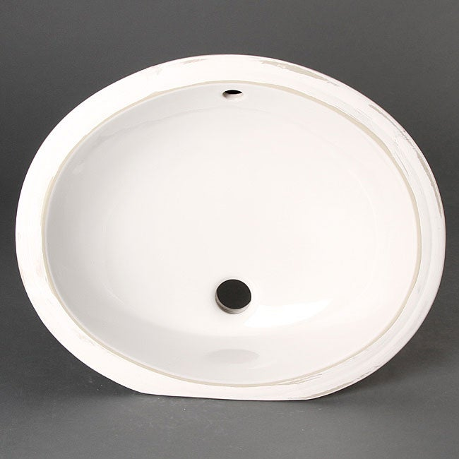 Geyser White Vitreous Porcelain Ceramic Undermount Bathroom Sink
