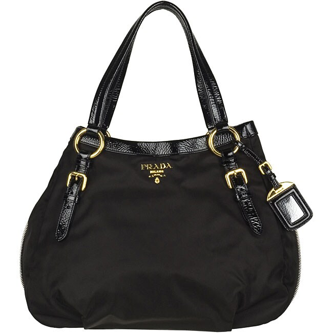 prada new arrival handbags - Prada \u0026#39;Tessuto Vernice\u0026#39; Black Tote - 11879648 - Overstock.com ...