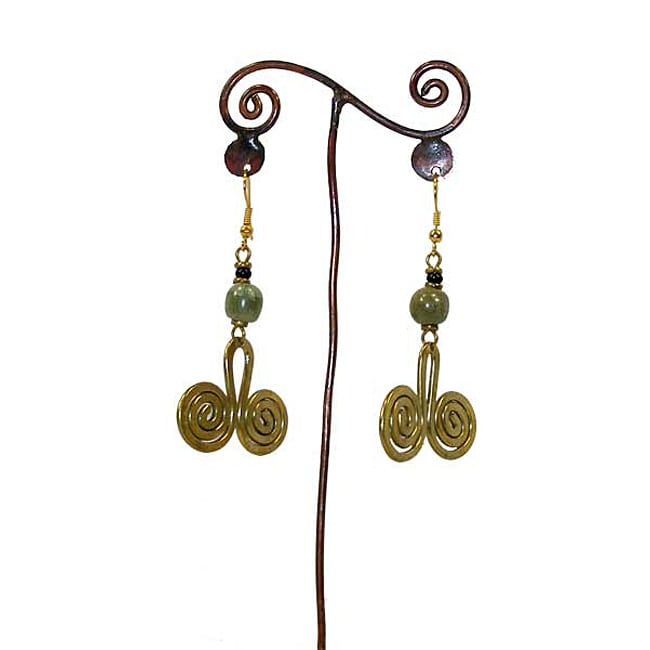 Brass Green Bead and Two Swirls #11 Earrings (Kenya)