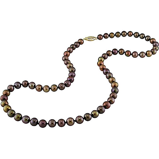 14k Gold Brown Freshwater Pearl Necklace (6-6.5 mm)