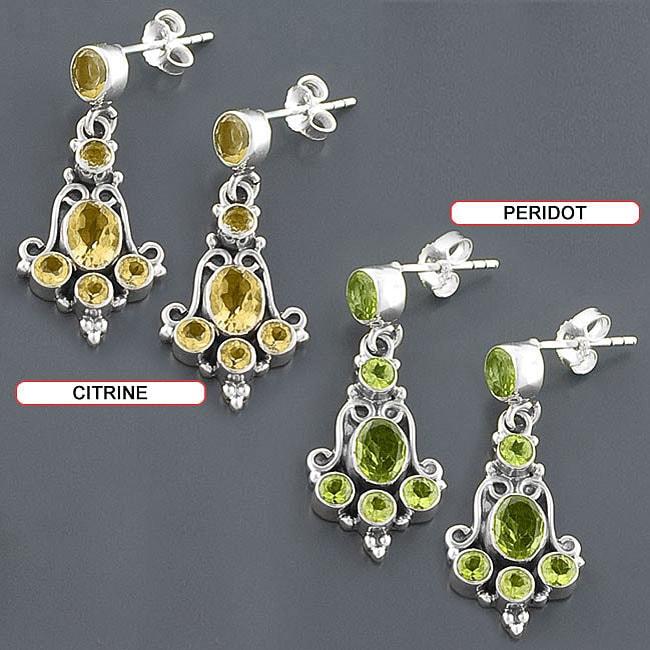 Sterling Silver Dangle Gemstone Earrings (India)