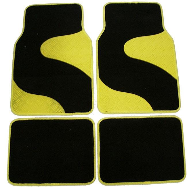 Yellow Black Diamond Plate Swish Carpet Car Floor Mats