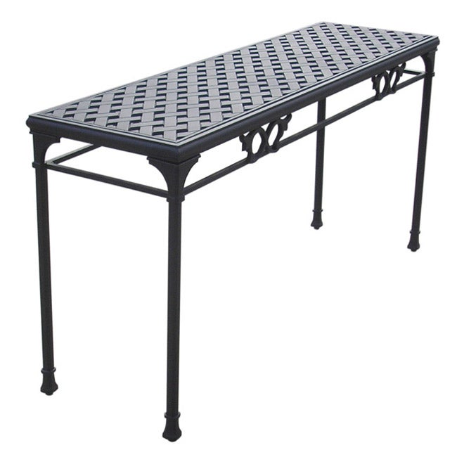 Black aluminum patio console table 11882271 overstock Outdoor sofa tables