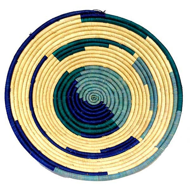 Large Blue/ Turquoise/ Natural Coil Basket (Uganda)